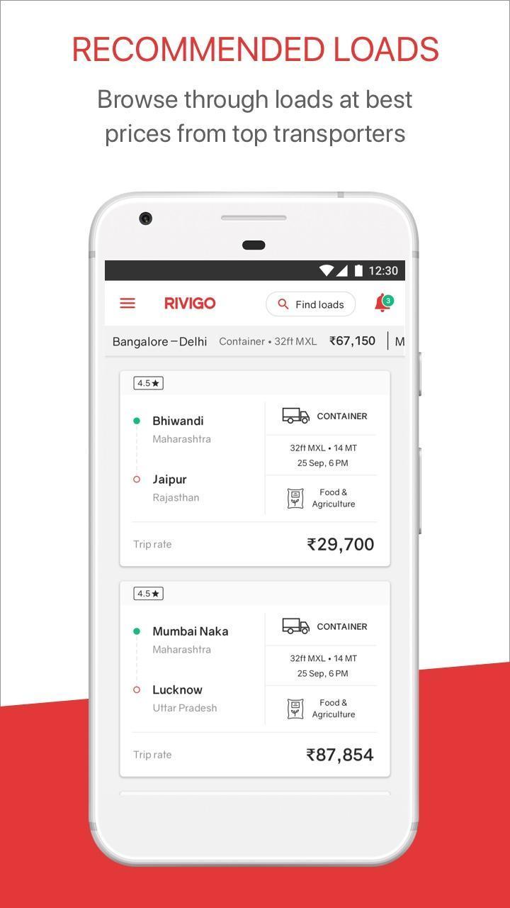 RIVIGO Fleet – Find full truckloads at best rates for