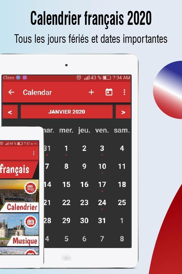 Calendrier 2020 Français Avec Jours Fériés 2020 For Android