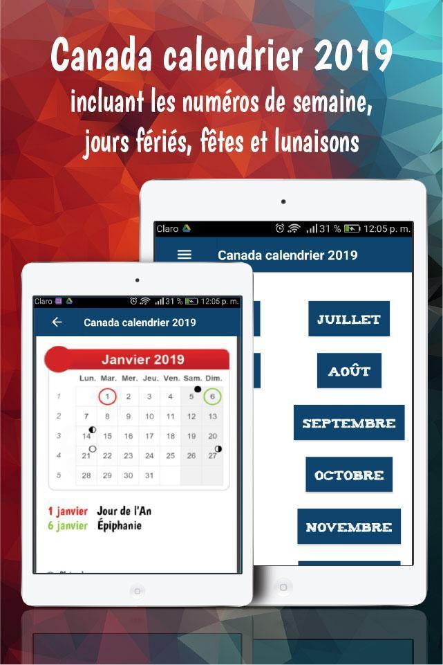 Canada Calendrier 2019 Avec Jours Fériés Gratuit For Android