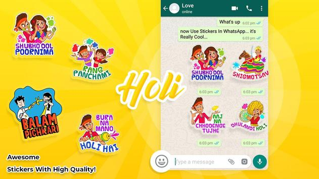 Holi stickers for WAStickersapps poster