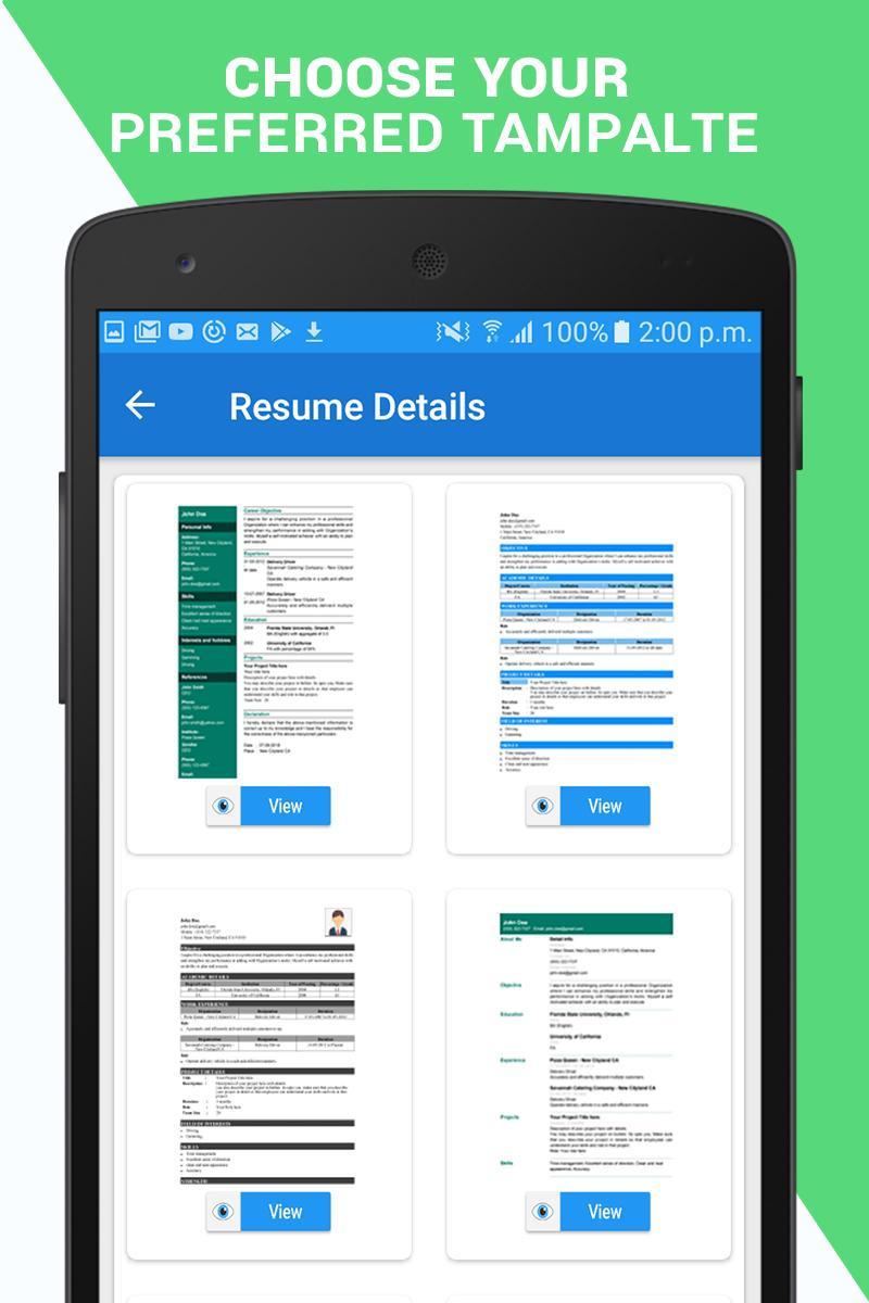 Professional Resume Maker Cv Builder Pdf Format For Android