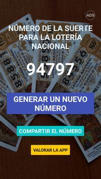 Número de la suerte para la Lotería Nacional poster