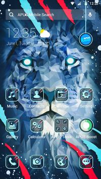 Brave Blue Lion APUS Launcher theme poster