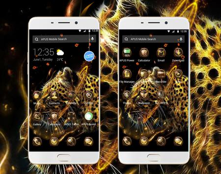 Fire Leopard Wolf--APUS Launcher fashion theme poster