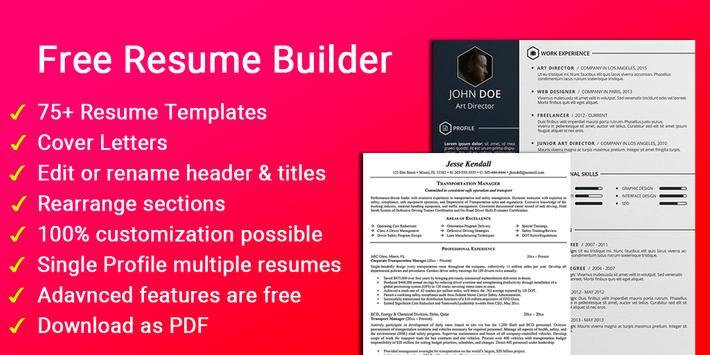 Resume builder Free CV maker templates formats app poster