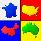 世界各国的地图 - 关于地理的测验