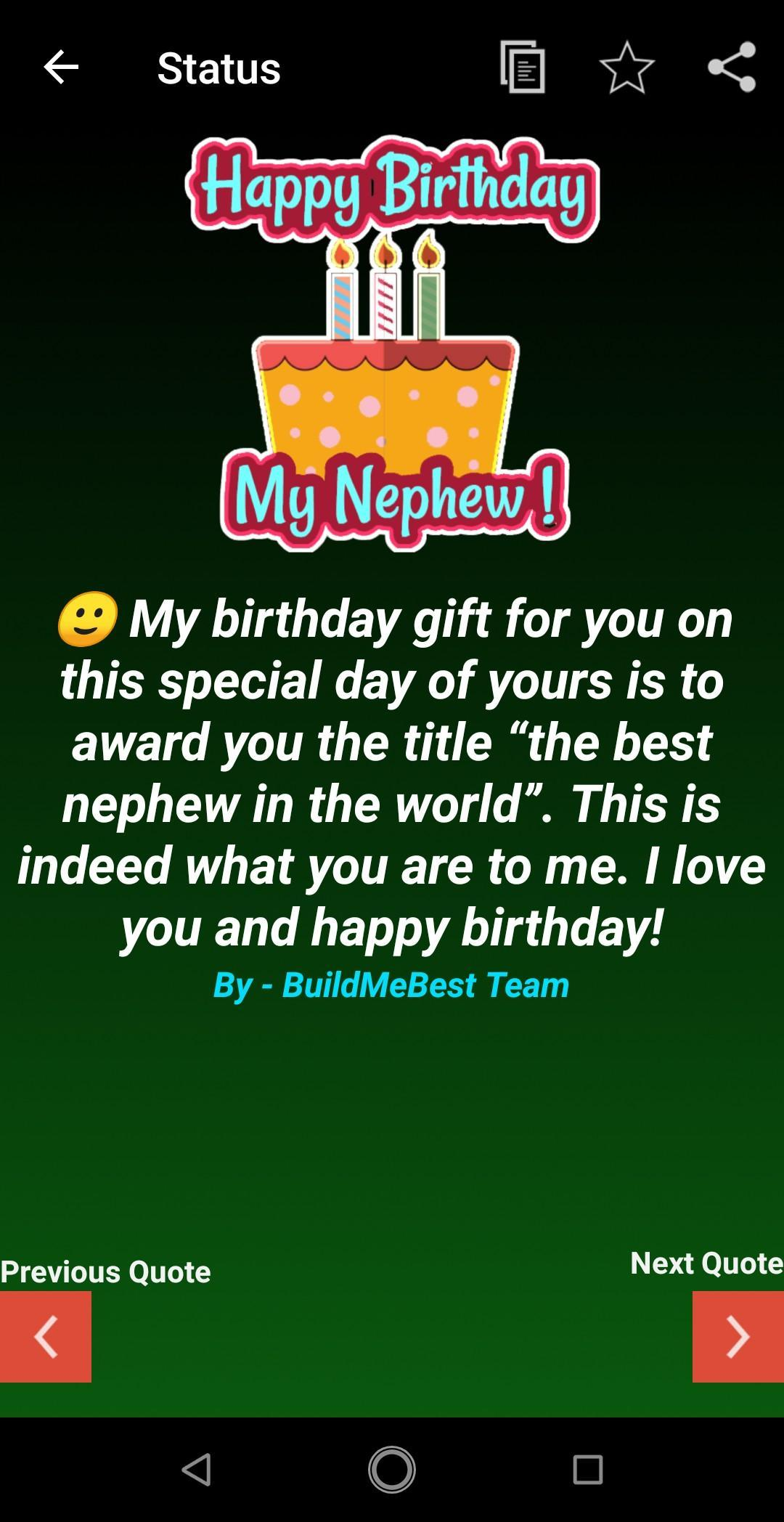 Birthday Wishes For Nephew Greeting Card Quotes Screenshot 1