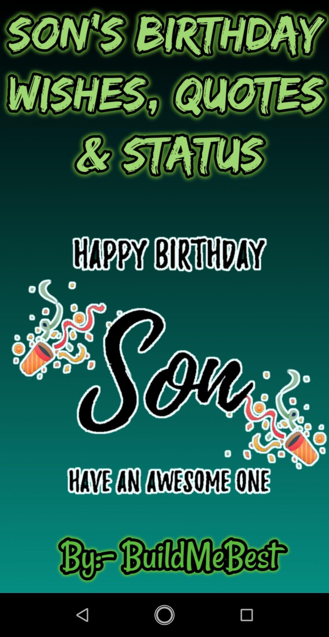 Wondrous Happy Birthday Son Wishes Quotes Greeting Cards For Android Funny Birthday Cards Online Fluifree Goldxyz