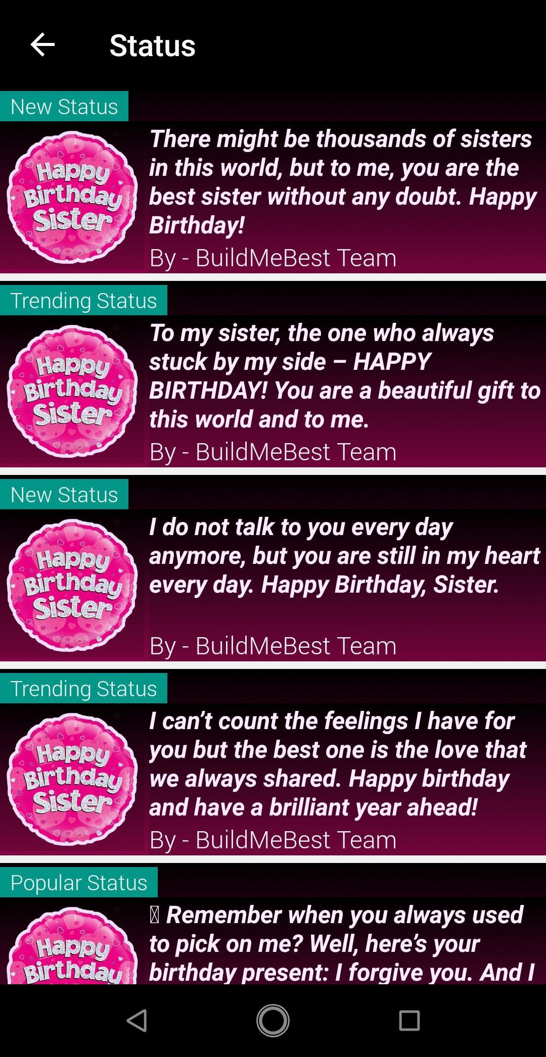 Astonishing Birthday Wishes For Sister Quotes 1000 Greeting For Android Funny Birthday Cards Online Sheoxdamsfinfo