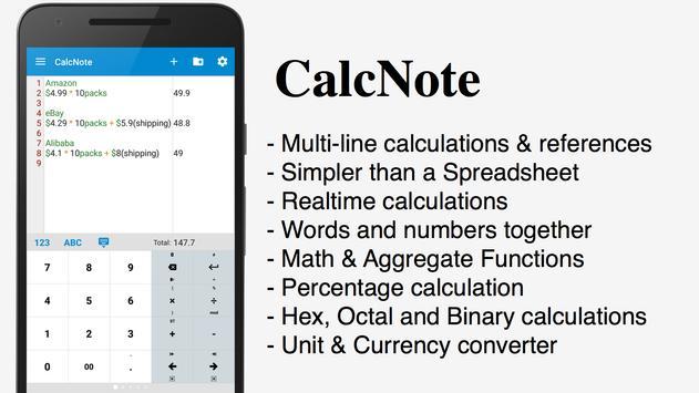 CalcNote Pro - Math Calculator poster