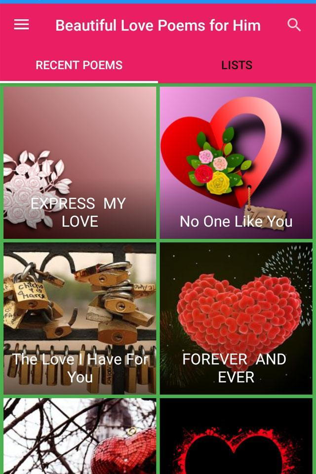 The for one him for i poems love I Love