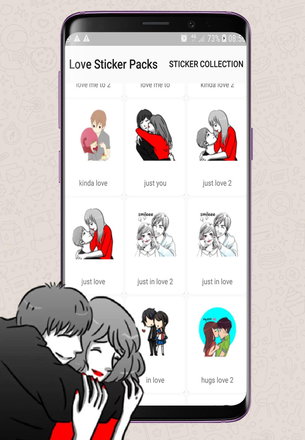 Love Romance Sticker For Whatsapp Kiss And Hugs For Android