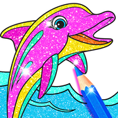 Rainbow Glitter Coloring Book: Dolphin Waterpark icon