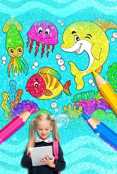 Rainbow Glitter Coloring Book: Dolphin Waterpark screenshot 3