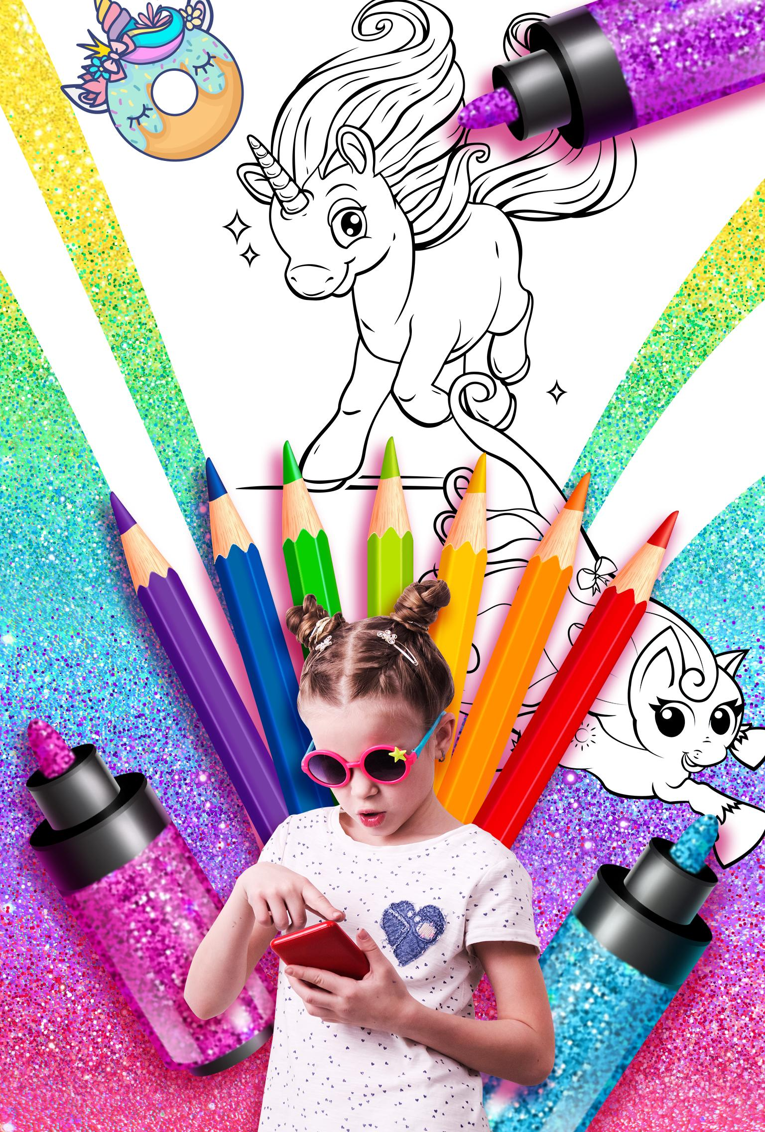 Rainbow Glitter Coloring Book - Unicorn Artist for Android ...