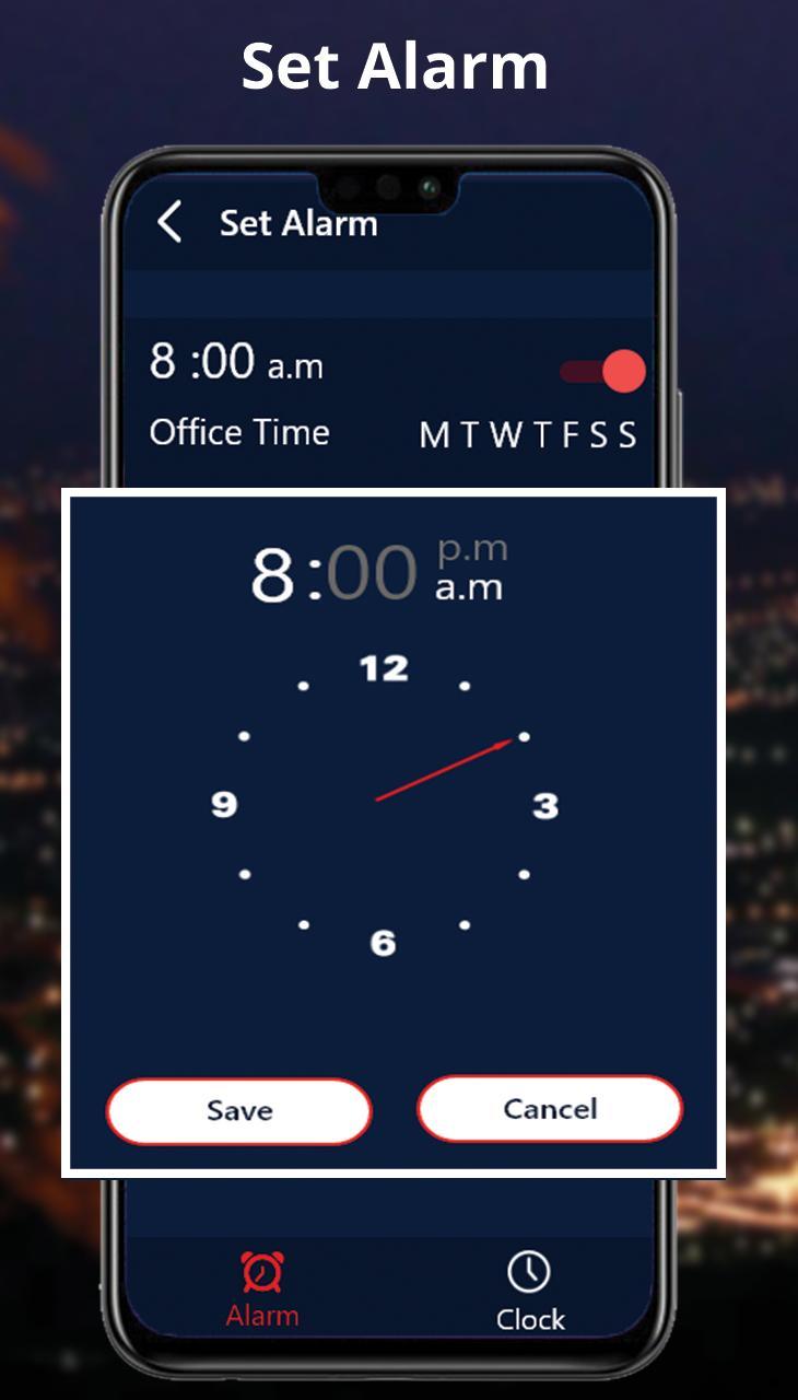 set alarm for 8 00