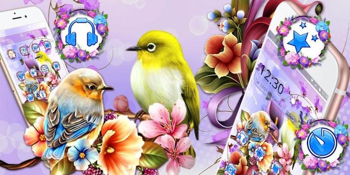 Bird Purple Flower Launcher Theme screenshot 3