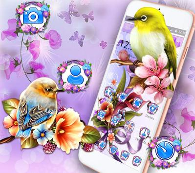 Bird Purple Flower Launcher Theme poster