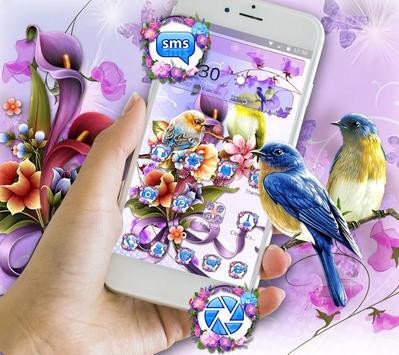 Bird Purple Flower Launcher Theme screenshot 2