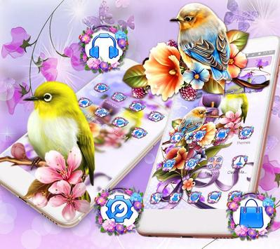 Bird Purple Flower Launcher Theme screenshot 8