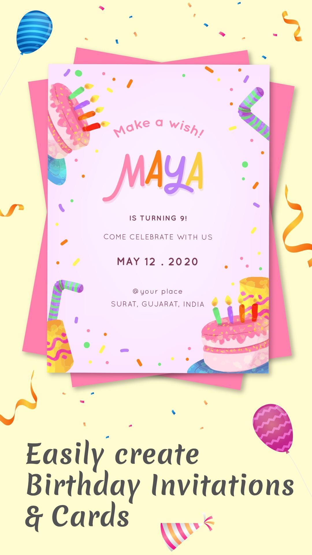 Birthday Invitation Card Maker Invitation Maker For Android Apk Download