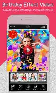 Happy Birthday Photo Effect Video Animation Maker screenshot 1