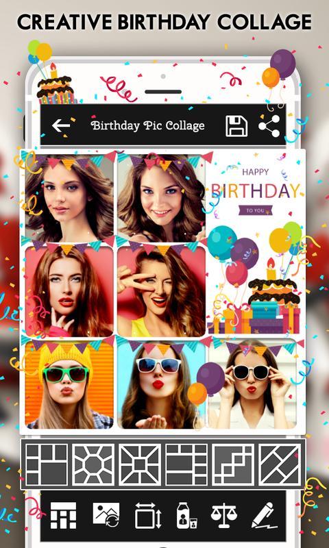 Happy Birthday Cake Status Card Photo Frame Plakat