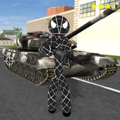 Black Spider Stickman Rope Hero Gangstar Crime icon
