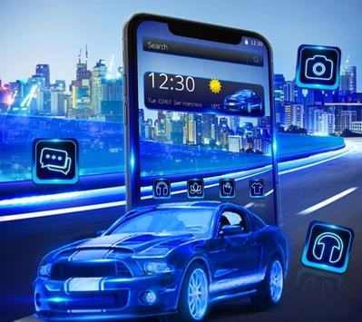 Blue Speed Neon Car Theme screenshot 1