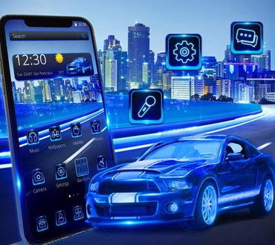Blue Speed Neon Car Theme screenshot 2