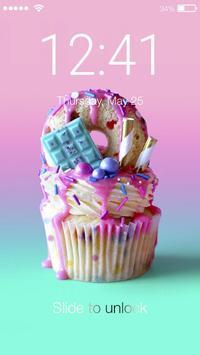 Unicorn Cupcake Candy Wallpaper Screen Lock poster