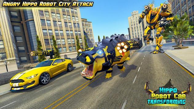 Hippo Robot Car Transform Battle-Rhino Robot Games screenshot 5