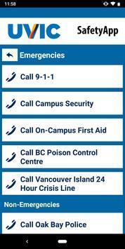 UVic SafetyApp screenshot 2