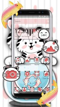 Cute Cat Koi Theme الملصق