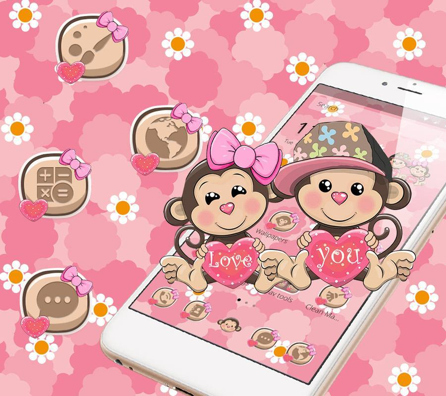 Cute Lovely Monkey Couple Theme for Android - APK Download