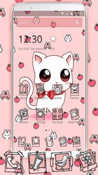 Cute Heart Bow Kitty Theme imagem de tela 4
