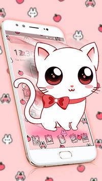 Cute Heart Bow Kitty Theme imagem de tela 1