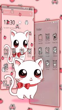 Cute Heart Bow Kitty Theme imagem de tela 2