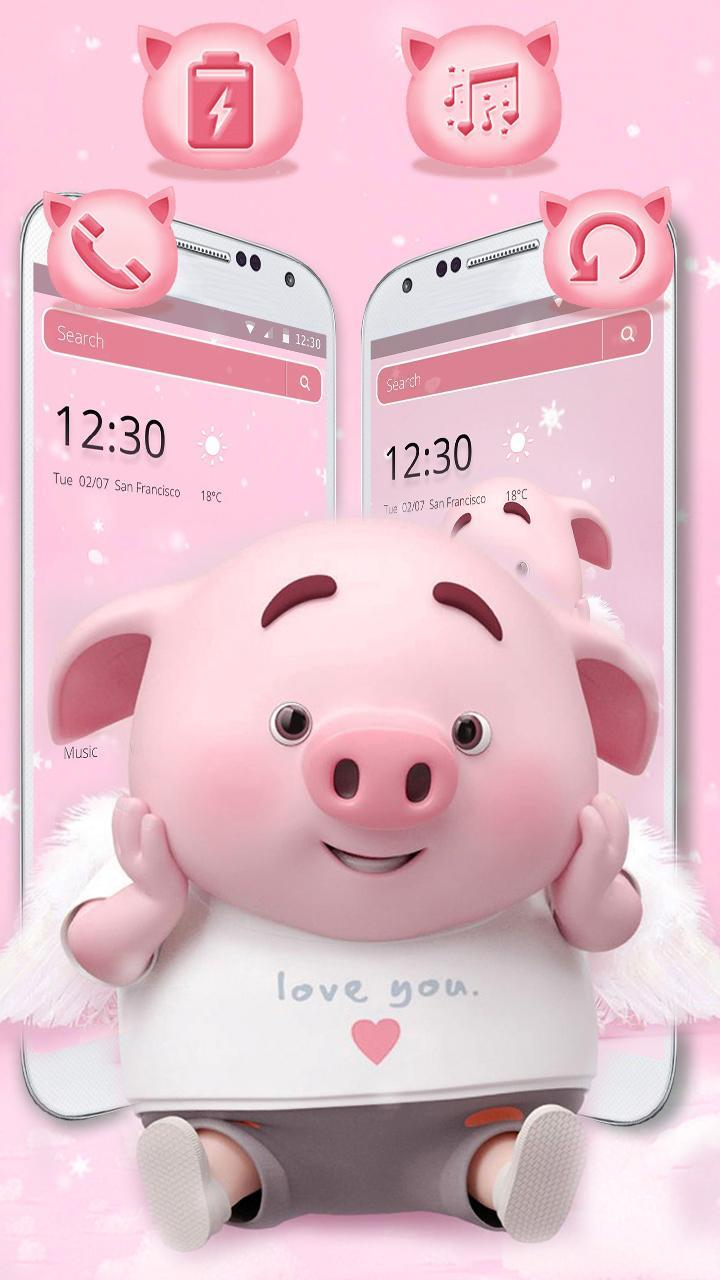Cute Pink Cartoon Piggy Theme For Android Apk Download