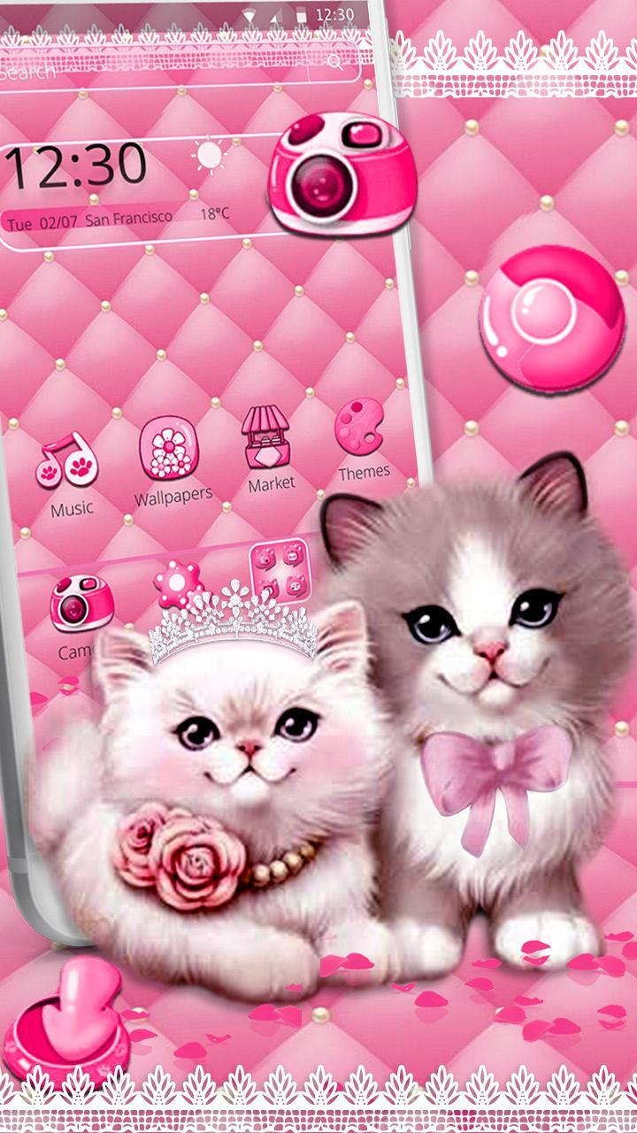 Cute Pink Cat Couple Theme For Android Apk Download