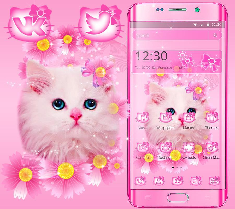 Cute Pink Kitty Cat Theme For Android Apk Download