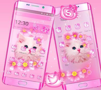 Cute Pink Kitty Cat Theme screenshot 1