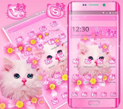 Cute Pink Kitty Cat Theme screenshot 2