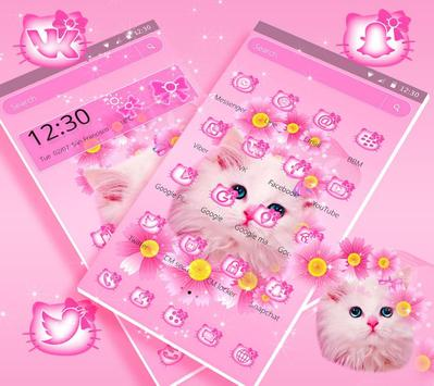 Cute Pink Kitty Cat Theme screenshot 3
