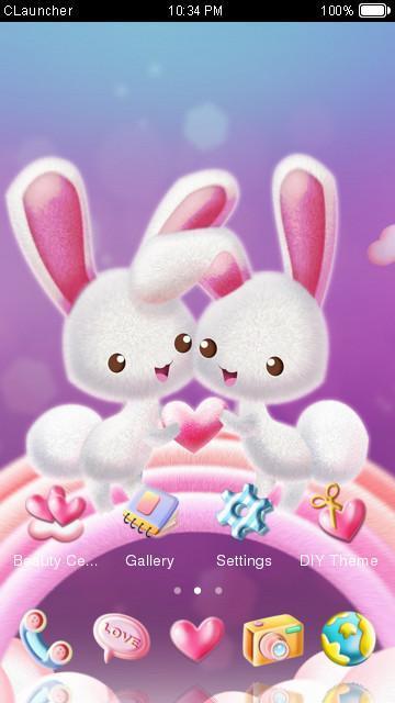 Love Rabbit Theme - Kawaii Cute Bunny Comic Theme poster