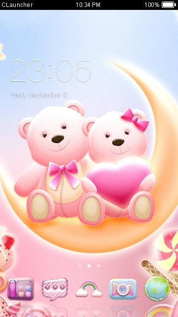 Cute Bear love  honey with Pink hearts DIY Theme poster
