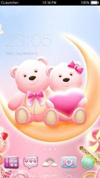 Cute Bear love honey dengan Pink hearts DIY Theme poster