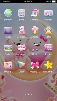 Cute Bear love honey dengan Pink hearts DIY Theme screenshot 1