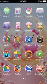 Cute Bear love honey dengan Pink hearts DIY Theme screenshot 2