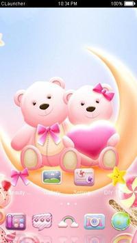 Cute Bear love honey dengan Pink hearts DIY Theme screenshot 3